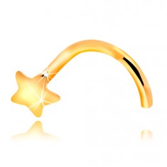 Nasenpiercing aus 14K Gelbgold - gebogen, kleiner Stern