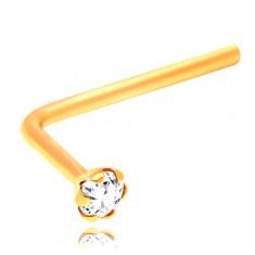 Gebogenes Nasenpiercing aus 14K Gelbgold, klarer geschliffener Zirkonia, 1,5 mm