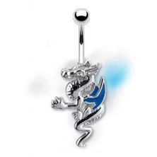 Nabelpiercing - Drache mit blauen Flügeln