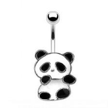 Stahl Bauchnabelpiercing - Panda mit weißer und schwarzer Glasur