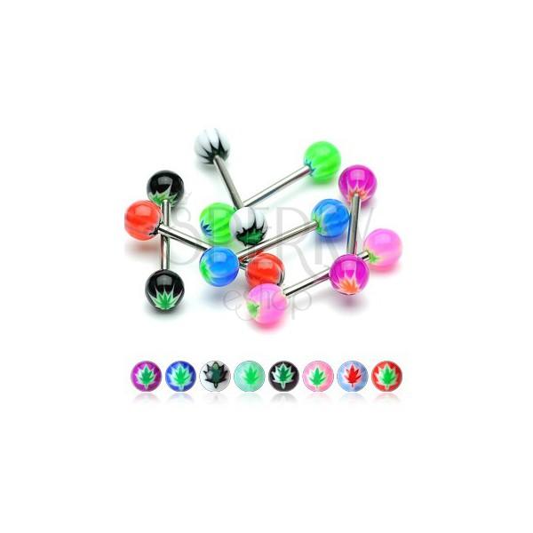 Zungenpiercing aus Chirurgenstahl – Akryl UV Kugeln mit einem Hanfblatt Motiv