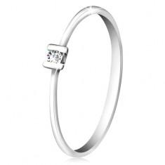 Brillantring aus 585 Weißgold – glänzender klarer Diamant mit Stäbchen befestigt