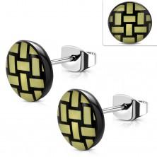Ohrringe aus 316L Stahl, Acryl Kreis mit gelb-schwarzem geflochtenem Muster