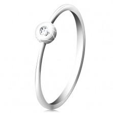 14K Weißgold Ring – glitzernder klarer Brillant in glänzender Fassung, schmale Ringschiene