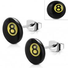 Edelstahl Ohrringe, Magic Billardkugel Nummer 8 – schwarze und gelbe Farbe