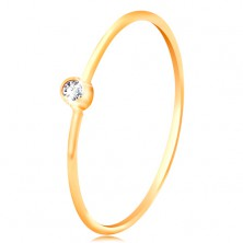 Diamantring aus 585 Gold – strahlender klarer Brillant in einer glänzenden Fassung, schmale Ringschiene