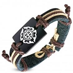 Schwarzes Armband aus Kunstleder und braunen Schnüren, Stammessymbol