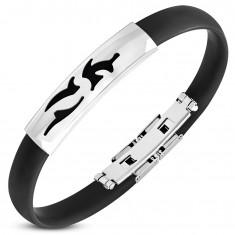 Schwarzes Gummiarmband, glänzende Stahlplatte mit Stammesausschnitten