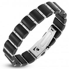 Stahl-Gummiarmband, schwarze Rechtecke und schmale Silberrollen