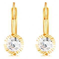 585 Gold Ohrringe – runde Fassung mit Kerben, geschliffener klarer Zirkon, 4 mm