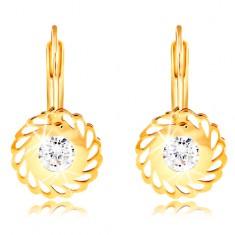 14K Gelbgold Ohrringe – Blume mit tropfenförmigen Ausschnitten und einem klaren Zirkon