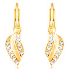 585 Gold Ohrringe – glänzendes gewelltes Blatt mit Linien aus klaren Zirkonen