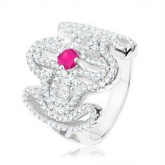 Mächtiger Ring, 925 Silber, klares Zirkon-Kreuz, rosa Zirkon in der Mitte