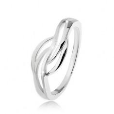 925 Silberring mit geteilter Ringschiene, glänzende und matte Wellen