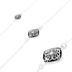 925 Silber Armband, schwarzer Rhombus mit Verzierung, dünne Kette