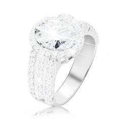 925 Silberring – Verlobungsring, breite Ringschiene aus Zirkonen, großer ovaler Zirkon