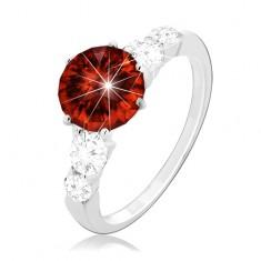 925 Silberring, runder roter Zirkon and klare Zirkone auf der Ringschiene
