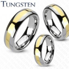 Ehering aus Tungsten mit goldener Linie, 4 mm