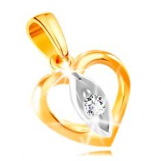 14K Gold Anhänger – Herzumriss, Korn mit einem klaren Zirkon in der Mitte