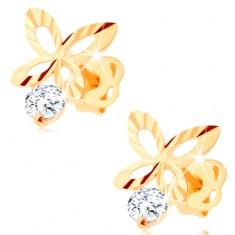 Brillant Ohrringe aus 585 Gold – glitzernder Schmetterling-Umriss, klarer Diamant