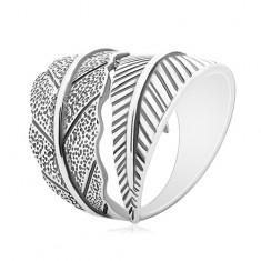 925 Silber Ring, große in entgegengesetzte Richtungen gebogene Blätter, graue Patina