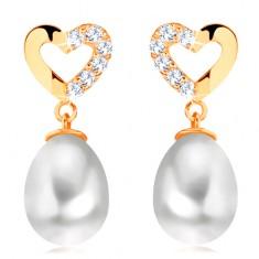 14K Gelbgold Diamant Ohrringe – Herzumriss mit Brillanten, ovale Perle
