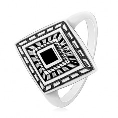 925 Silber Ring, patinierter Rhombus mit schwarzer Glasur in der Mitte