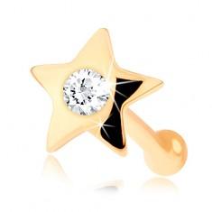 Gerades Nasenpiercing aus 14K Gelbgold – kleiner glänzender Stern mit einem Diamanten