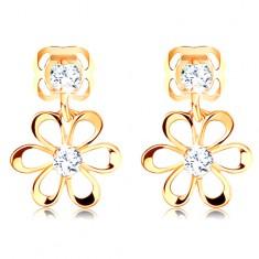 14K Gelbgold Diamant Ohrringe – Blume mit abgerundeten Blütenblättern, klare Brillanten