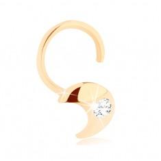 585 Gold Diamant Nasenpiercing – gebogen, Mondsichel mit Brillanten