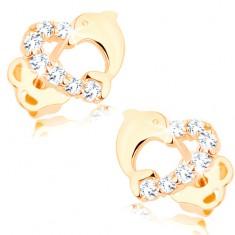 Brillant Ohrringe aus 585 Gold – Herzumriss mit einer Diamanten-Linie und einem Delfin