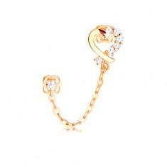 Diamant Ohrring aus 14K Gelbgold, Herzumriss, klare Brillanten und eine Kette