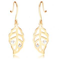 Brillant Ohrringe aus 585 Gold – Blatt mit Einschnitten und klaren Diamanten geschmückt
