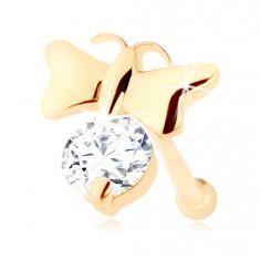 Brillant Nasenpiercing aus 14K Gelbgold – glänzender Schmetterling und ein klarer Diamant