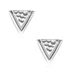 925 Silber Ohrringe, Dreieck mit Grübchen und einem schmalen Einschnitt