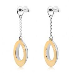 Hängende Ohrringe, 925 Silber, zweifarbige Oval-Umrisse an einer Kette