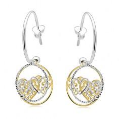 925 Silber Ohrringe, unvollständiger Kreis, Kreise mit Herzen, zweifarbig