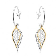 925 Silber Ohrringe, unvollständiger Kreis, zweifarbige geschnitzte Blätter