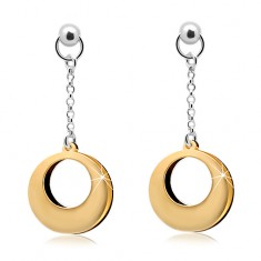 925 Silber Ohrringe, zweifarbige Kreise mit Ausschnitt an einer Kette