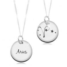 925 Silber Halskette, runde Platte und Kette, Sternzeichen WIDDER