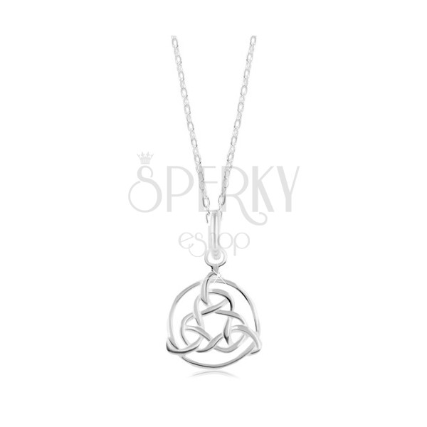 925 Silber Halskette Glänzende Kette Keltisches Symbol In Einem
