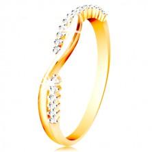14K Gold Ring - zwei dünne verflochtene Wellen - glatte und Zirkon