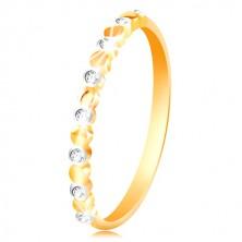 Ring aus Gelb- und 585 Weißgold - zweifarbige Kreise und klare Zirkone