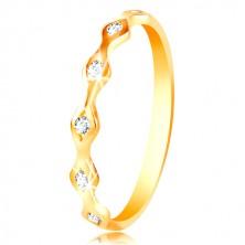 Ring aus 14K Gelbgold - glänzende Körner mit eingebetteten Zirkonen in klarer Farbe