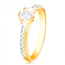 585 Gold Ring - dünne Zirkon Linien auf der Ringschiene, großer klarer Zirkon