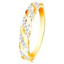 Ring aus kombiniertem 585 Gold - Zirkon und glatte Wellen