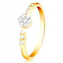 Ring aus 14K Gold - klare glitzernde Blume, kleine Zirkone auf der Ringschiene