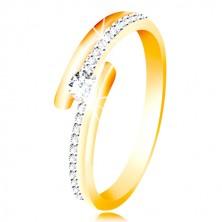 585 Gold Ring - geteilte Ringschiene, gewölbter klarer Zirkon in klarer Farbe