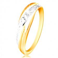 585 Gold Ring - Linie aus Weiß und Gelb Gold, glitzernde geschliffene Oberfläche