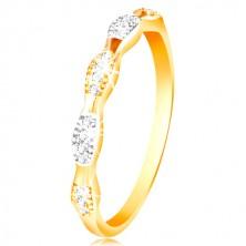 Ring aus 14K Gold - zweifarbige Körner mit eingebetteten Zirkonen, glänzende Ringschiene